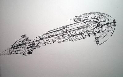 eve玩家手绘太空战舰