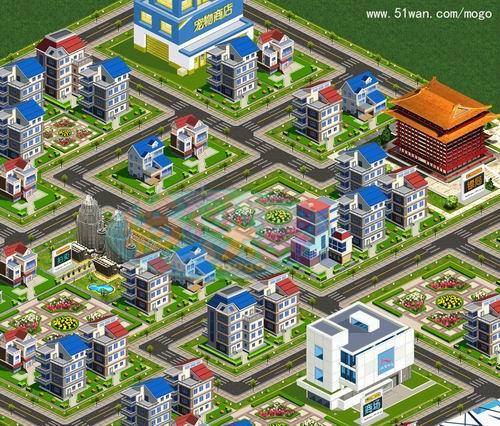 疑似三维地图《猫狗大战》网页游戏中的高楼大厦