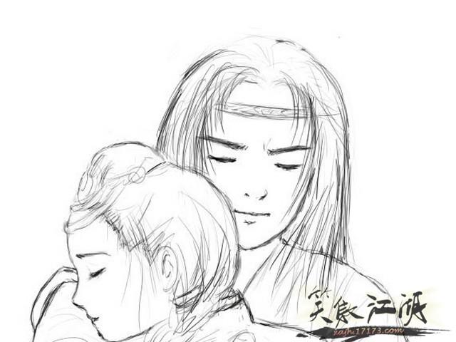 动漫人物铅笔画情侣-动漫人物铅笔画伤感|情侣动漫画