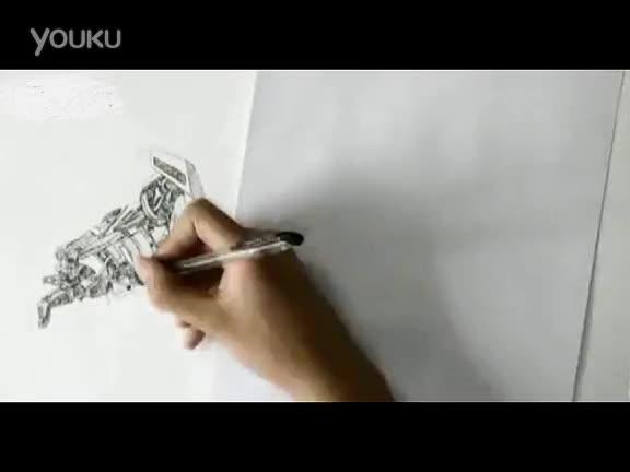 海派钢笔画图片风景