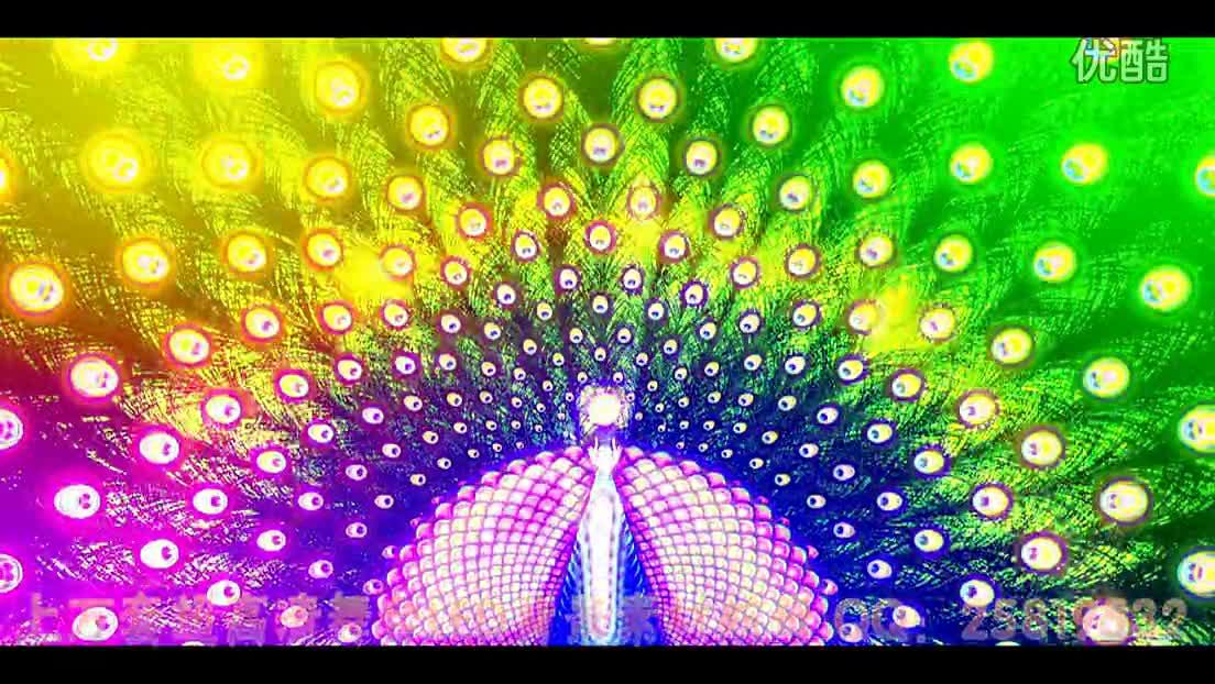 热门视频 孔雀开屏 羽毛 五彩闪光无缝循环 年会晚会led视频背景-大