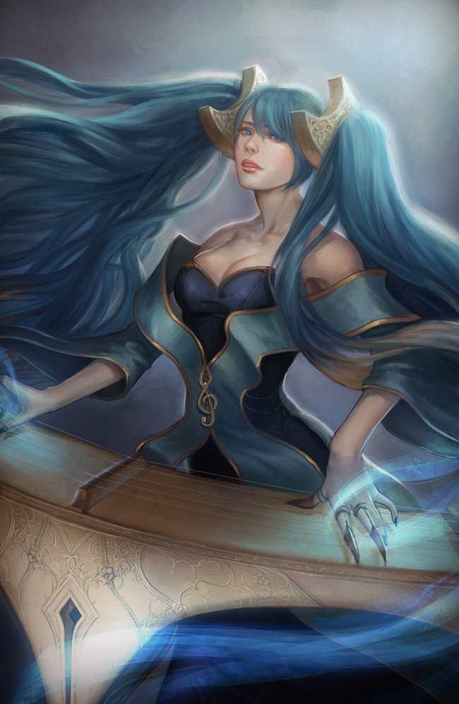 玩家作品:手绘英雄联盟美女 阿狸刀妹齐上阵