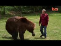 实拍美国驯熊师与灰熊摔跤拥抱-灰熊摔跤精彩视频给加开头图片