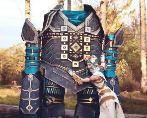 激战2国外cosplay 阿苏拉与高仑机器人